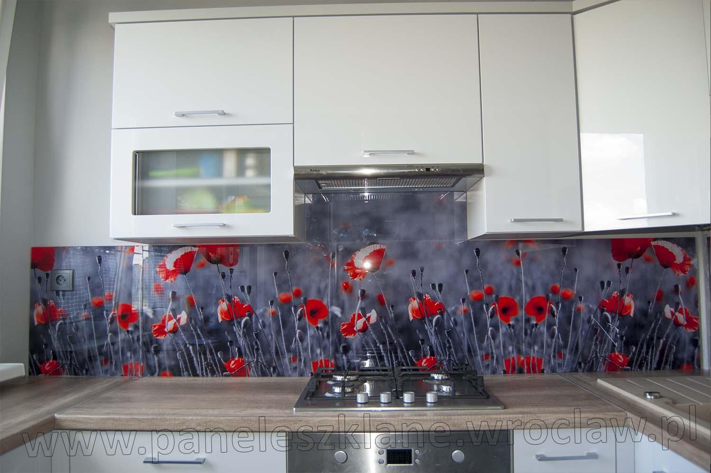 Panel Szklany W Kuchni Czerwone Maki Tanie Panele Szklane